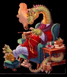 дракон читает